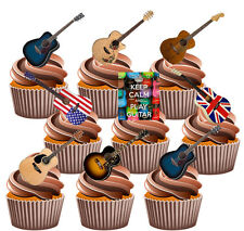 Guitarra Acústica Party Pack, Torta, Decoraciones 36 Comestibles stand-up Cupcake Toppers
