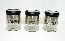 3Pc Glass Window Canister Jar Set Tea Coffee Sugar Cannister Jars 093C