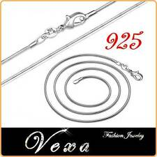 New 925 Sterling Silver 20'' Necklace Link Chain Snake 1mm Mens Womens UK NS06