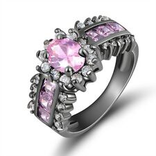 Size 9 Jewellry Emerald Cut Pink Topaz Band 10K Black Gold Filled Womens Ring