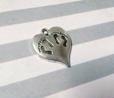 Twins Charm Pendant Antiqued Silver Baby Pendant Baby Twins Footprints NEW