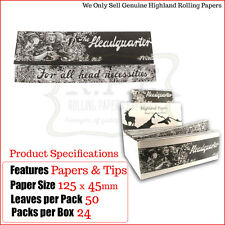 Highland Headquarters King Size Rolling Papers & Tips - One Full New Box