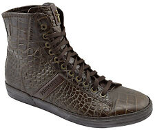 $595 CESARE PACIOTTI Brown Croc Leather Ankle Boots Sneakers Men Shoes 44 10