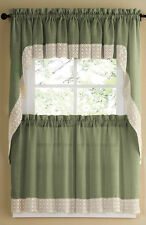 SALEM SOLID COLOR TIER CURTAIN and SWAG TOP WITH WHITE DAISY LACE TRIM