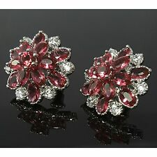 Pink Crystal & Clear Cubic Zirconia Flower Stud Earrings White Gold Plated UK bo