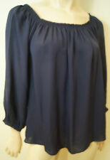 JOIE Navy Blue 100% Silk Elasticated Off Shoulder Neckline Blouse Top Sz:L BNWT