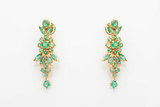 Estate $6000 10ct Colombian Emerald 22k Gold Dangle Earrings