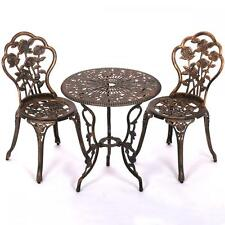 New Patio Furniture Tulip Design Cast Aluminum Bistro Set in Antique Copper