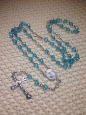 12-Baptism Favors Rosaries Cross Turquoise Party Recuerdos de Bautizo Rosario