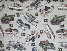ARMY MARINE VEHICLES USA BEIGE COTTON FABRIC FQ
