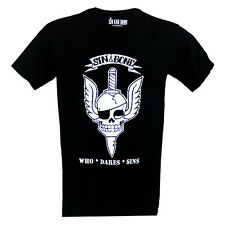 skull with dagger and wings men's T-shirt by Sin and Bone