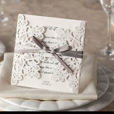 50 WHITE RIBBONS AND LACE LASER CUT WEDDING INVITATIONS INC ENVELOPE & INSERT