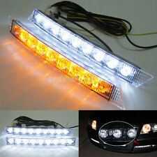 2X Car 9 LED DRL Driving Daylight Daytime Running Safety Turn Signal Light Lamp