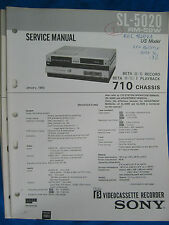 Sony SL-5020 Beta Video Cassette Recorder Service Manual ~ Original Repair Ma