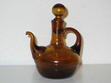 """Vintage HAND-MADE Amber Mini Glass OIL & VINEGAR Pitcher Bottle 4"""""""