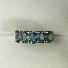 14k Solid Yellow Gold Ban Ring With Natural Blue Zircon 2.99CT2.67GM/Size 6.75