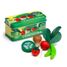 Wooden vegetables in a tin by Erzi pretend play grocery shop toy food kitchen