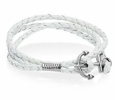 Anchor White Braided Double Wrap Leather Wristband with Anchor Clasp