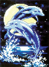 Complete Counted Cross Stitch kits Needlework DOLPHIN PLAYING IN NIGHT 26X33cm