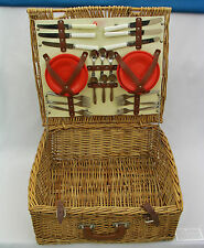 OPTIMA PICNIC OUTFITS - VINTAGE WOVEN PICNIC BASKET - MADE IN LONDON, ENGLAND