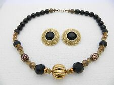 VTG ELLEN DESIGNS Signed Gold Tone Black Beaded Necklace Earring Set