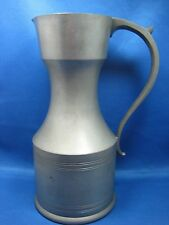 "10"" BIG Antique Pewter Pitcher/ Container w/ Handle Engraved Made in Holland"