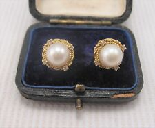 Pearl & Diamond Earrings in 18ct Yellow Gold