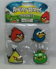 Angry Birds 4 Pack Rubber Magnets Red, Blue & Yellow Birds & King Green Pig *New