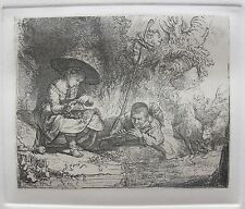 REMBRANDT THE FLUTE PLAYER Amand Durand Etching