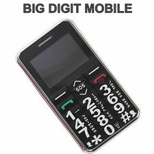 NEW Unlocked Black Big Digit Mobile Phone With SoS Button Senior Safety + Radio