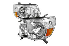 05-10 Toyota Tacoma Single Crew Cab Chrome Amber Housing Headlights Turn Signals