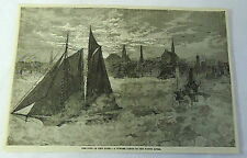 1883 magazine engraving~ WINTER VAPOR ON NORTH RIVER New York, Sail & Steam boat
