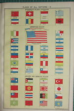 1940 PRINT ~ FLAGS OF NATIONS ASIATIC AFRICAN AMERICAN JAPAN BRAZIL PERU etc