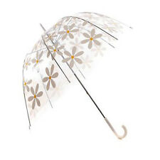 Clear Dome Umbrella with White Daisy Pattern
