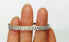 Pre Owned 18k Solid White Gold Bangle Bracelet With Natural Diamonds (Vs1)1.85CT