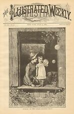 Bubbles, Do They Charm Children Only ?, Mother & Child, 1884 Antique Art Print