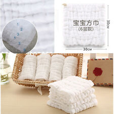 6 layer Cotton Baby Infant Washcloth Towel Newborn Bath Feeding Wipe Cloth Gauze