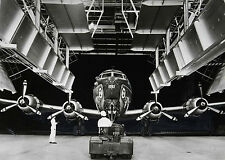 1948 United Air Lines DC-6 towed into maintenance hangar 8 x 10 Photograph