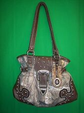 Realtree Xtra Green Camouflage Camo Belted Handbag Purse Tote Brown NEW