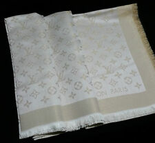 NEW Genuine LOUIS VUITTON Monogram SHINE White Gold Lurex Shawl Scarf LV M74026