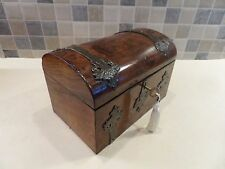 VICTORIAN GOTHIC REVIVAL BURR WALNUT TEA CADDY WITH COMPLETE INTERIOR- LOCK& KEY