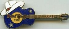 Hard Rock Cafe DALLAS Blue Acoustic GUITAR w/ Cowboy Hat PIN - HRC Catalog #2141