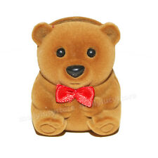 NEW cute brown teddy bear red bow small jewelry gift box holders organize