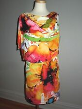 SUZI CHIN for MAGGY BOUTIQUE MULTI-COLOR ONE SLEEVE/ SUMMER  DRESS SIZE 4 NWT