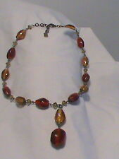 Vintage Chunky Art Glass Beaded Multi Color Dangle Choker Necklace
