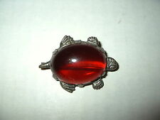 Vintage Silvertone & Red Jelly Belly Turtle Brooch Pin - C Clasp