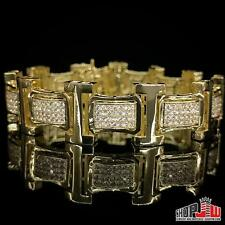 Mens 14k Yellow Gold Plated Simulated Diamond Bracelet Hip Hop Iced Out Chunky