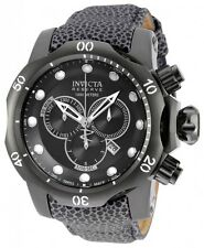 New Men's Invicta 18304 Venom Reserve Swiss Chrono Black Dial Grey Leather Watch