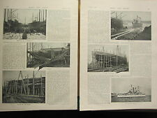 1898 PRINT ~ BATTLESHIP BUILDING ELSWICK WORKS LAUNCH PUTTING ON PLATES