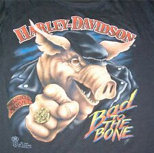 """AUTHENTIC Vintage Harley-Davidson T-Shirt by 3-D """"Bad to the Bone"""" Never Worn!"""